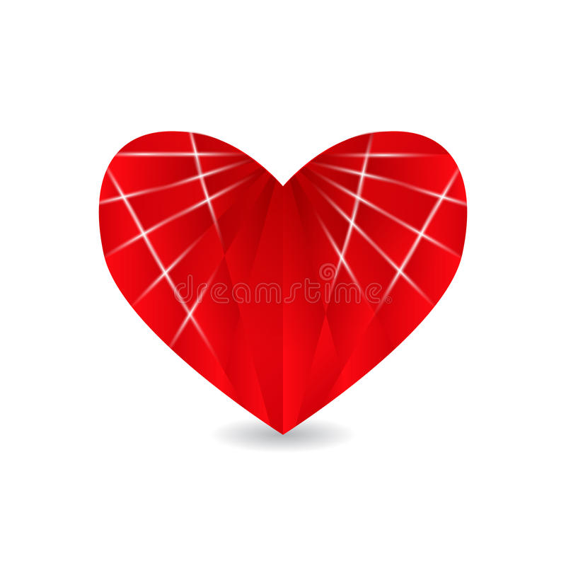 Ruby red heart with faces and shadow. Valentine s Day. illustration. Ruby red heart with faces and shadow. Valentine s Day. Vector illustration royalty free illustration