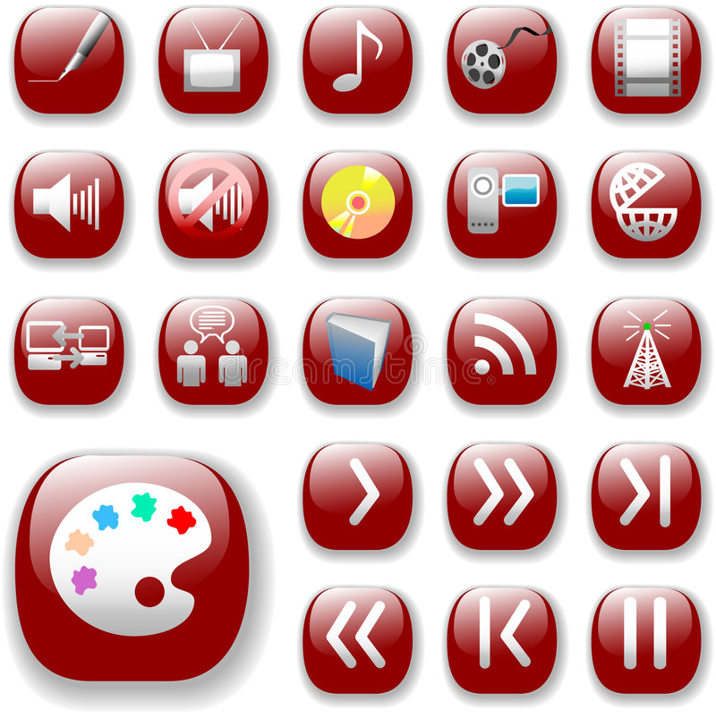 Ruby Red Icons, Digital Media. Your set of shiny button icons is ready. The ruby red Digital Art, Media & Communication Collection vector illustration