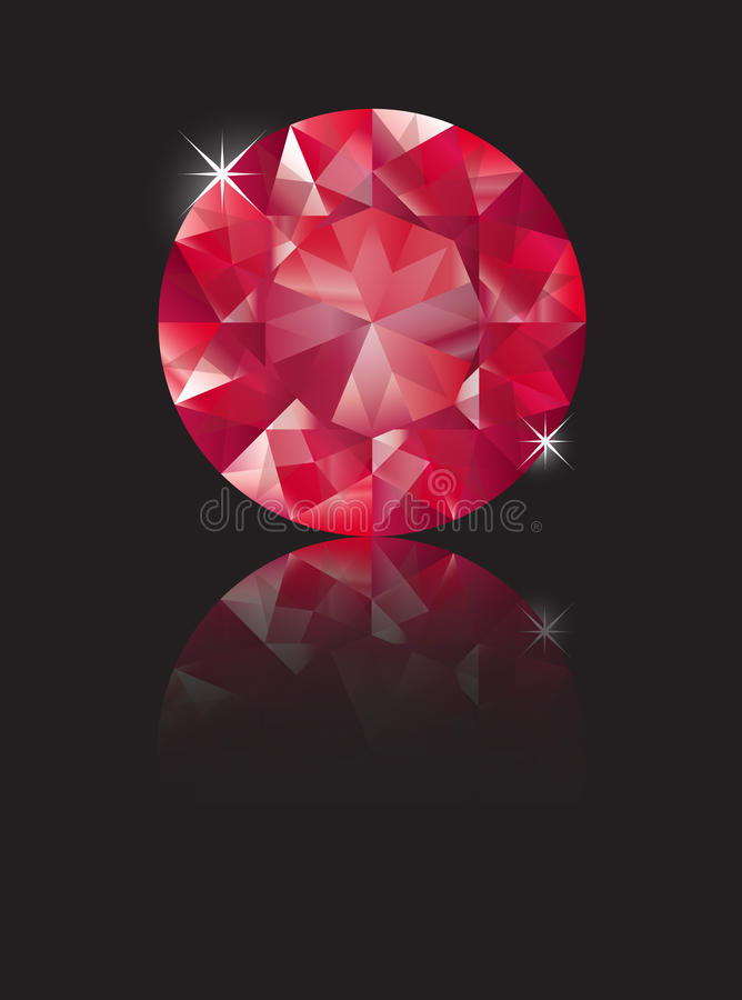 Ruby reflected. A brilliant cut ruby isolated on black with reflection. Space for text vector illustration
