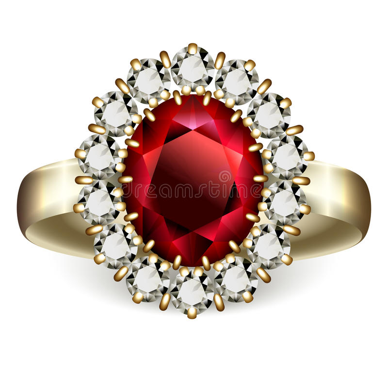 Ruby ring. Golden ring with ruby and diamonds vector illustration