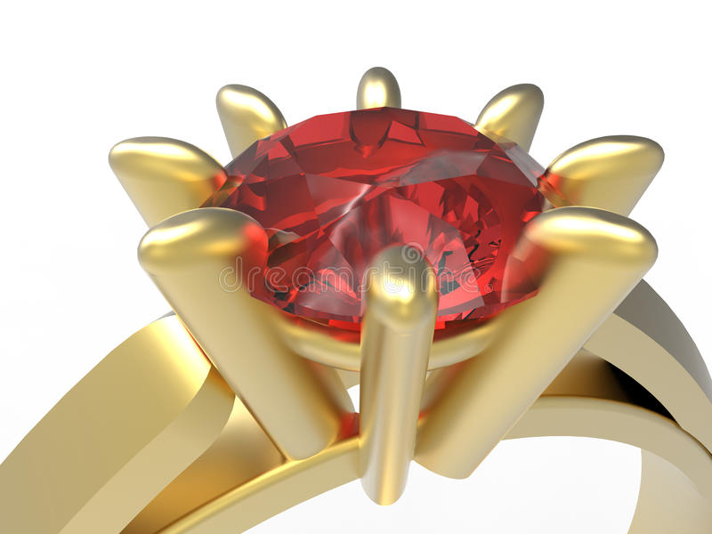 Ruby ring closeup. 3D rendered illustration of a golden ruby ring. The object is isolated on a white background with no shadows royalty free illustration