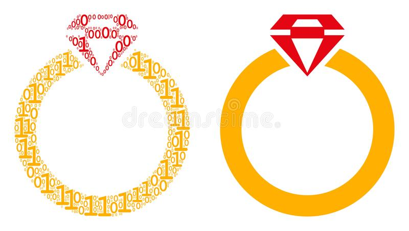 Ruby Ring Mosaic of Binary Digits. Ruby ring collage icon of binary digits in different sizes. Vector digits are united into ruby ring mosaic design concept stock illustration