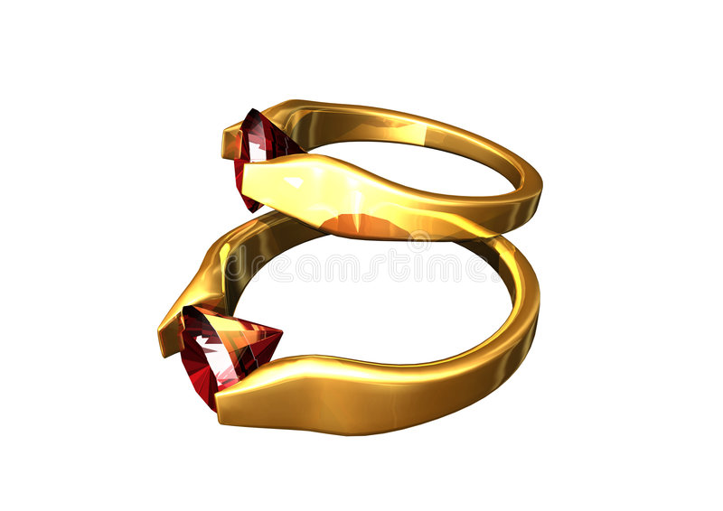 Ruby rings. Gold engagement and wedding rings with ruby stone on white background vector illustration