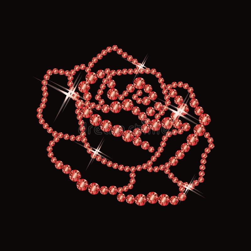 Ruby rose. Card, vector illustration vector illustration
