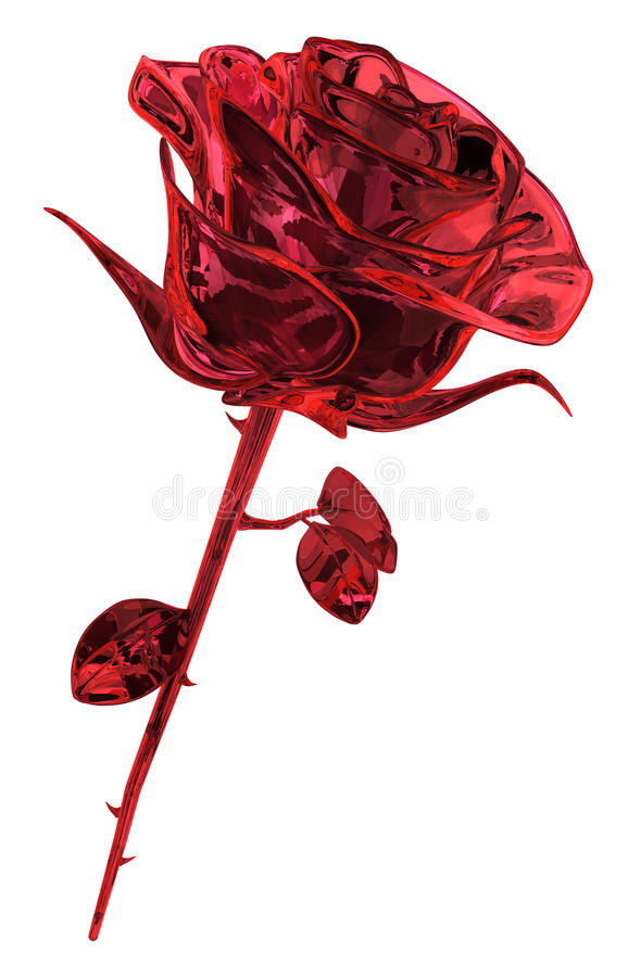 Ruby Rose. Rose ruby gem object isolated, 3d illustration, vertical royalty free illustration