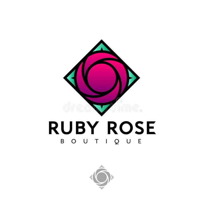 Ruby rose logo as colored glass, stained glass. Logo for Boutique, Spa, Beauty. Ruby rose logo as colored glass, stained glass. Red rose and green leaves. Logo stock illustration