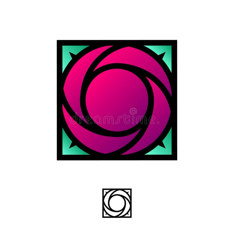 Ruby rose logo as colored glass, stained glass. Logo for Boutique, Spa, Beauty. Ruby rose logo as colored glass, stained glass. Red rose and green leaves. Logo royalty free illustration