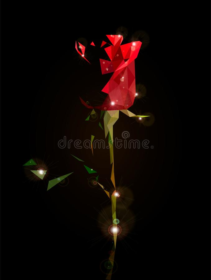 Ruby rose. Low poly drawing of half a red rose stock illustration