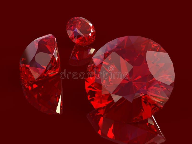 Ruby set. Isolated on white background royalty free illustration