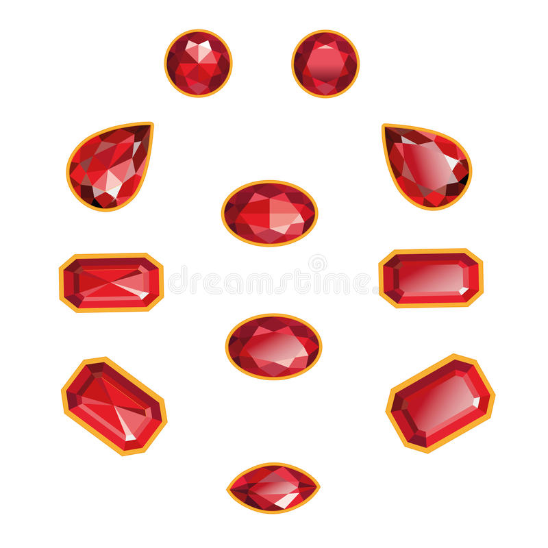 Ruby Set Isolated Objects. Rubies set different cut - round, drop, pear, oval, octagon, and race. Red shiny three-dimensional jewelry on a white background vector illustration