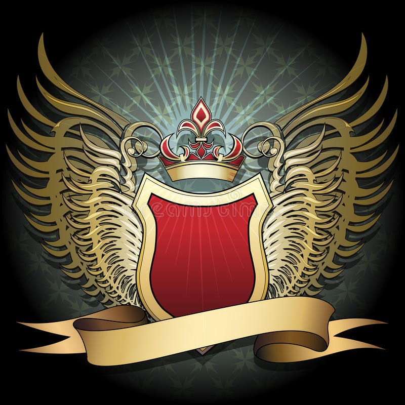 The ruby shield. The winged shield with crown and ribbon against dark textured background with cross pattern drawn in classic style royalty free illustration