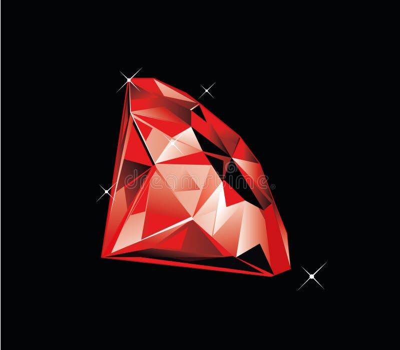 Ruby. Shiny ruby on dark background vector illustration