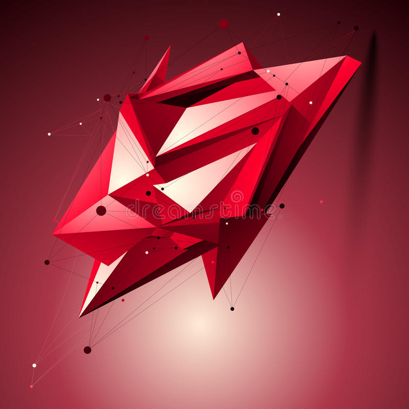 Ruby spatial technological shape, polygonal wireframe object placed over shaded background. vector illustration