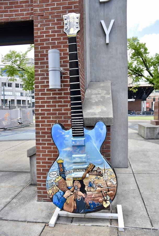 Ruby Wilson, B B Roi, Gibson Guitar Blues Tribute, rue Memphis TN de Beale images libres de droits