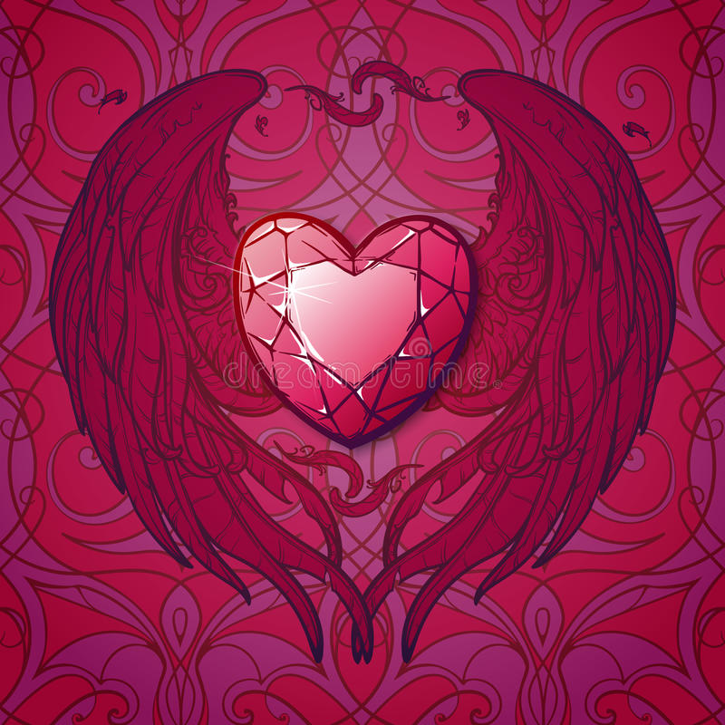 Ruby and wings heart st. Valentine's card. Detailed realistic drawing of a ruby gemstone surrounded with heart shaped wings. St. Valentine's day greeting card royalty free illustration
