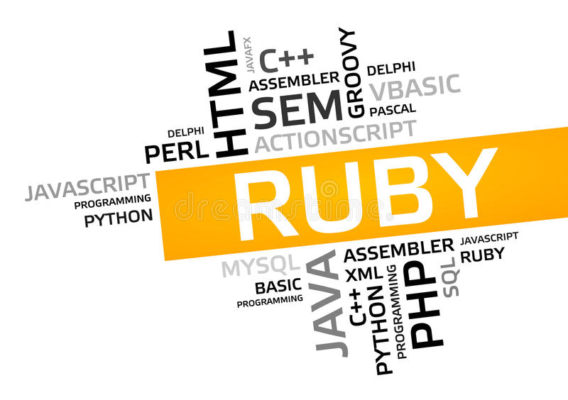 RUBY word cloud, tag cloud, vector graphic. Programming concept vector illustration