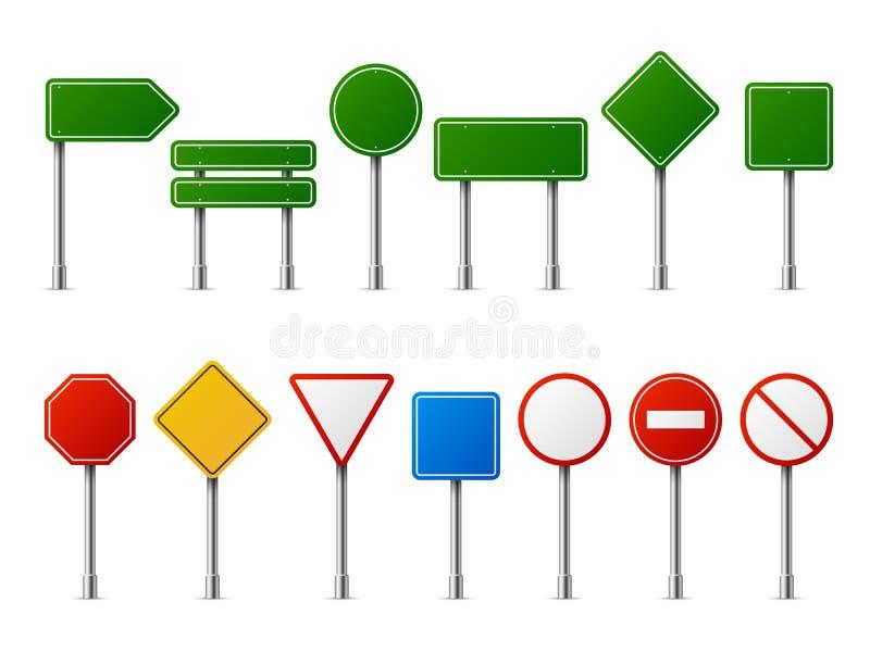 Ruchów drogowych drogowi realistyczni znaki Signage znaka ostrzegawczego przerwy niebezpieczeństwa ostrożności prędkości sygnałow royalty ilustracja