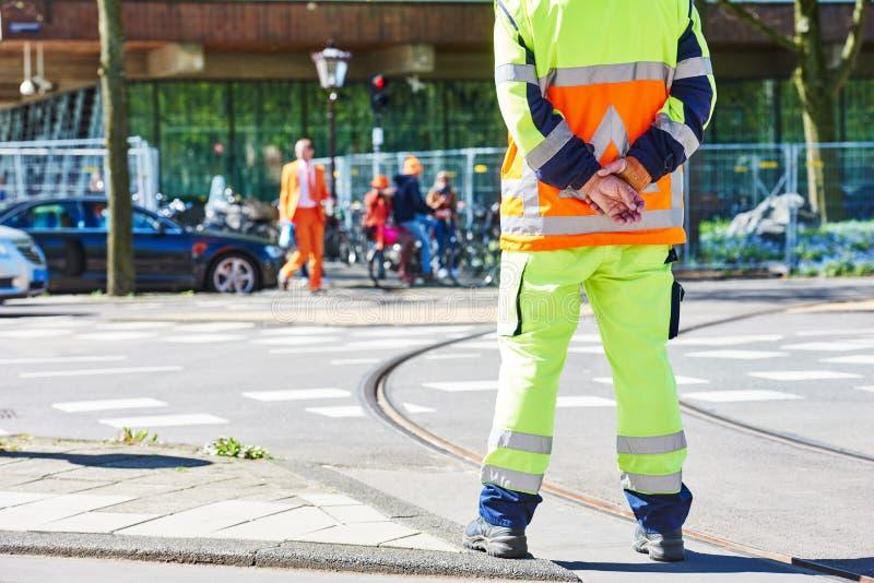 Ruch drogowy kontrola kierownika dopatrywania rozkaz zdjęcie stock