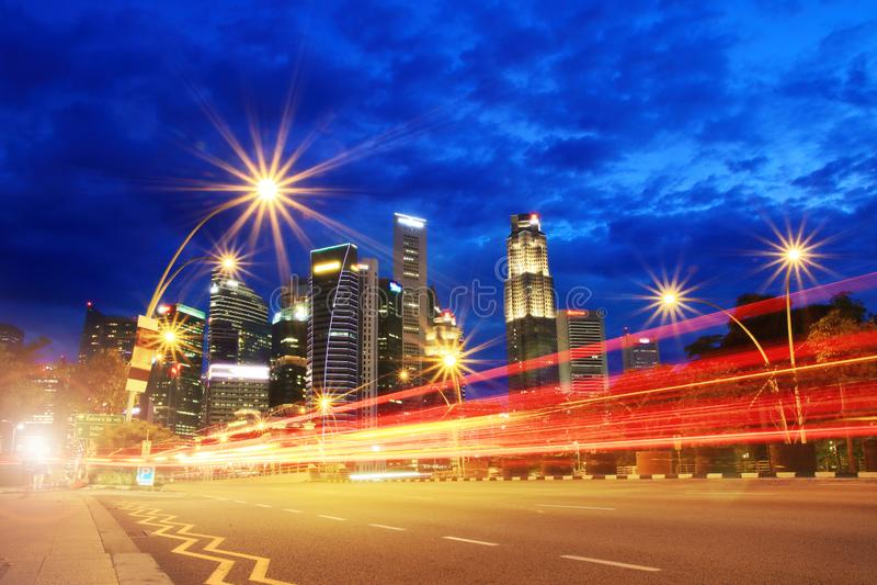 Ruch prędkości Czerwony światło na drodze miasto obraz royalty free