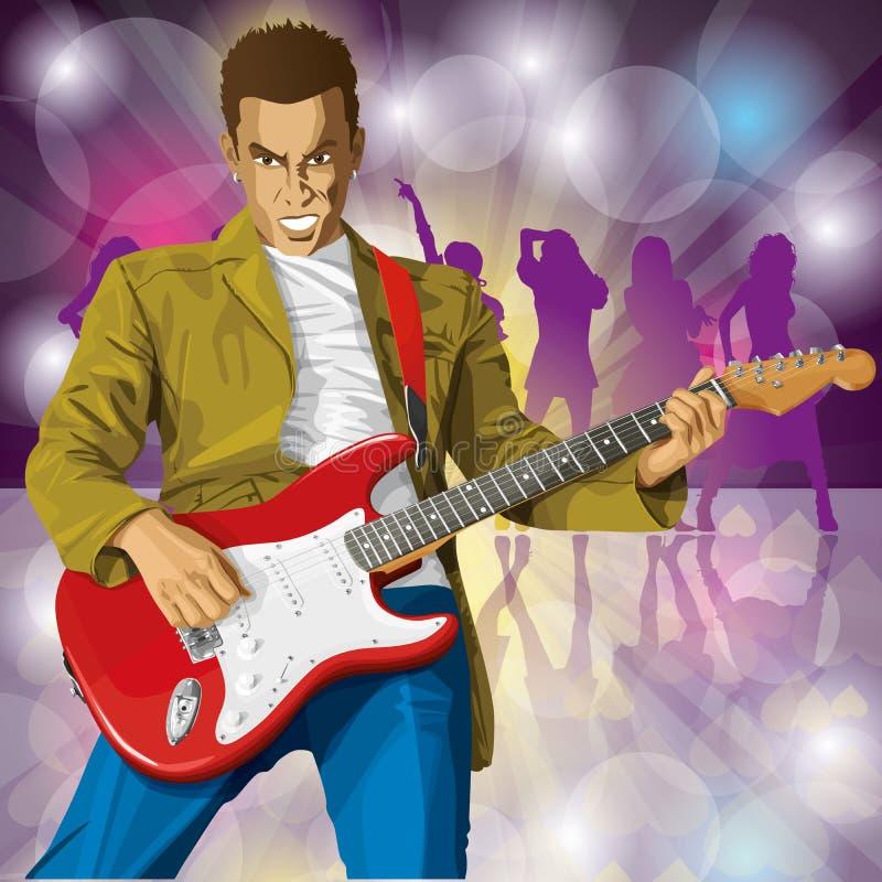 Ruch punków Z gitarą ilustracji