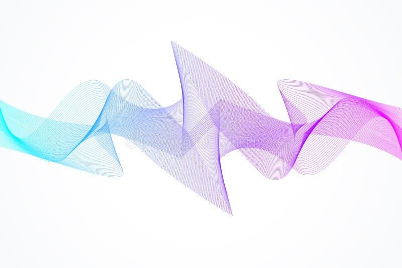 Ruch rozsądnej fala abstrakcjonistyczny wektorowy tło Cyfrowej częstotliwości śladu wyrównywacz royalty ilustracja