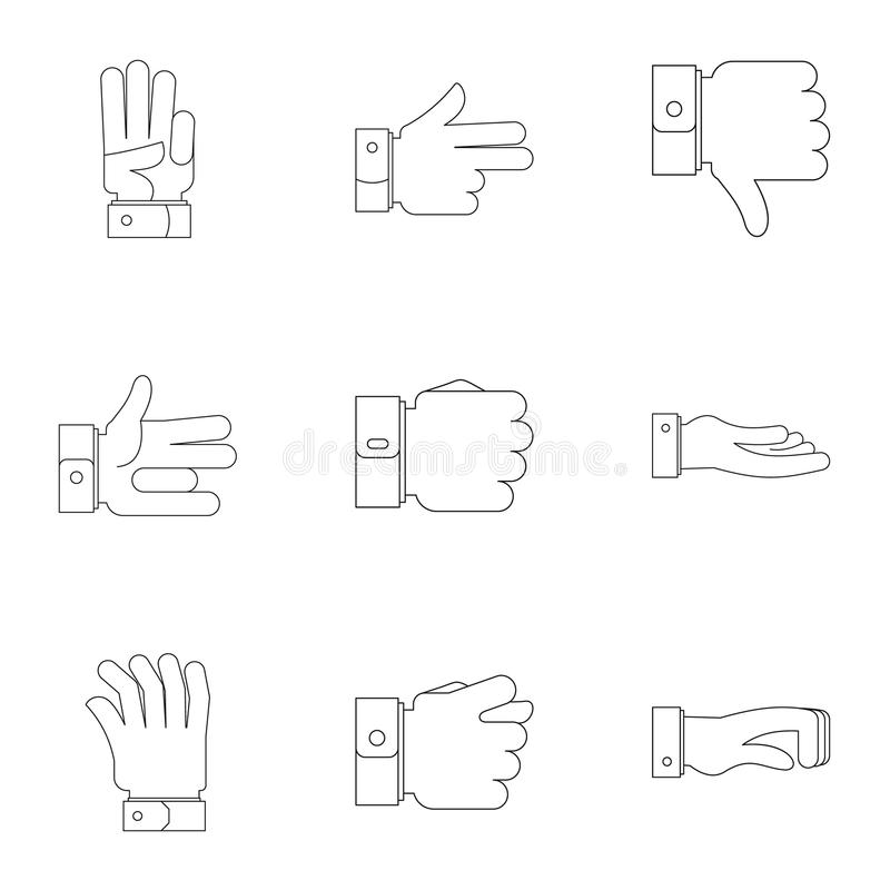 Ruch spływowe ikony ustawiać, konturu styl ilustracji