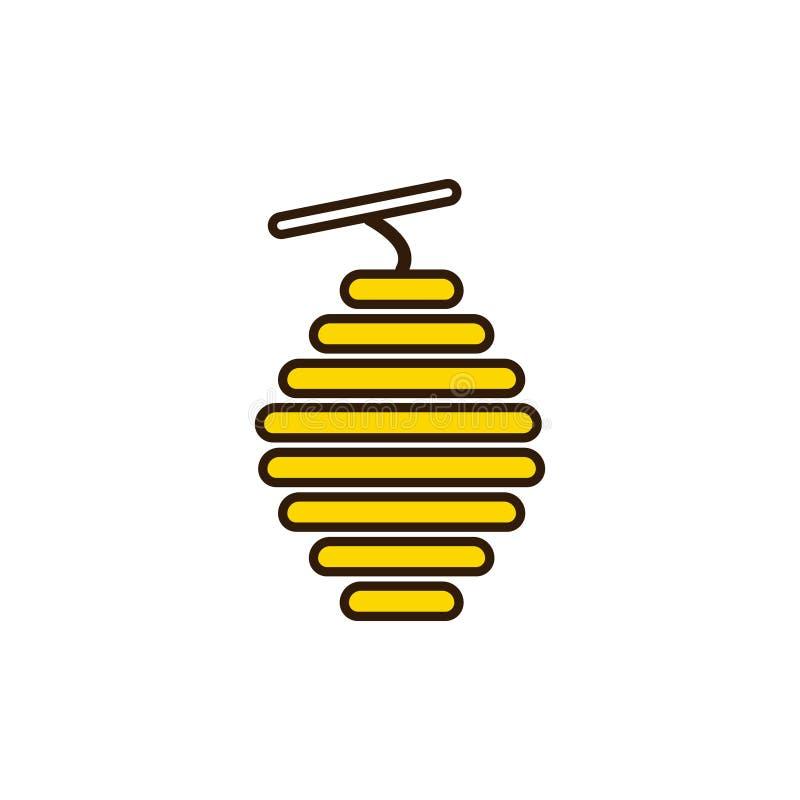 Ruche sauvage d'abeille L'apiculture et rucher Symbole de miel illustration stock