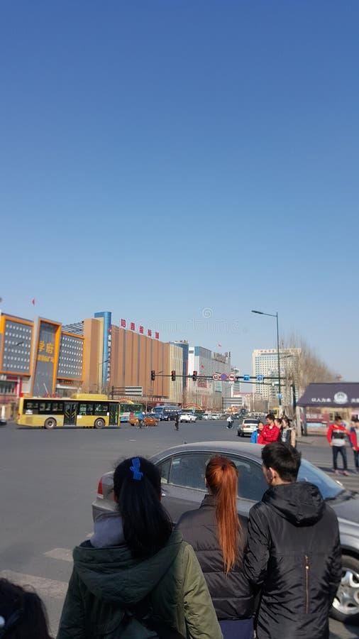 Ruchliwa ulica w Harbin zdjęcia stock