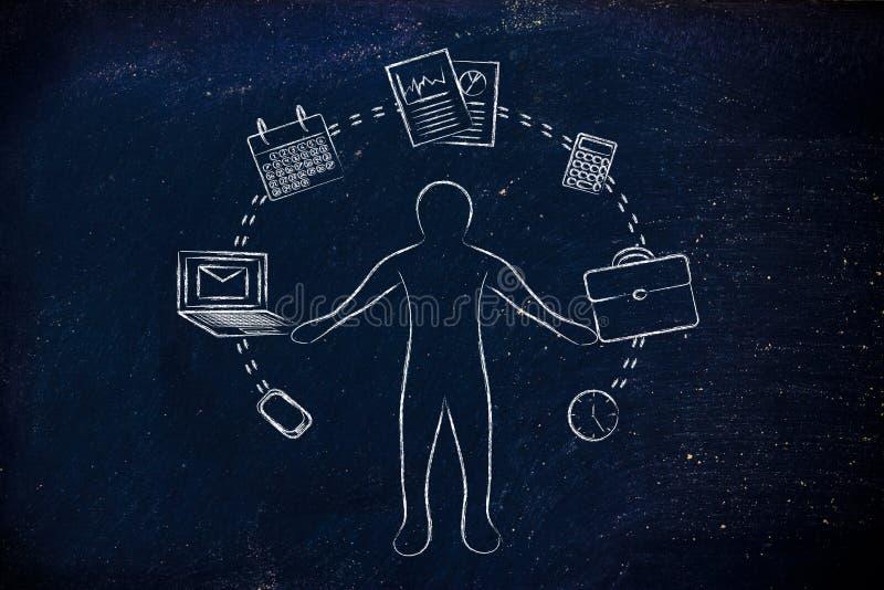 Ruchliwie biznesowy mężczyzna żongluje z biurowymi przedmiotami zdjęcie stock