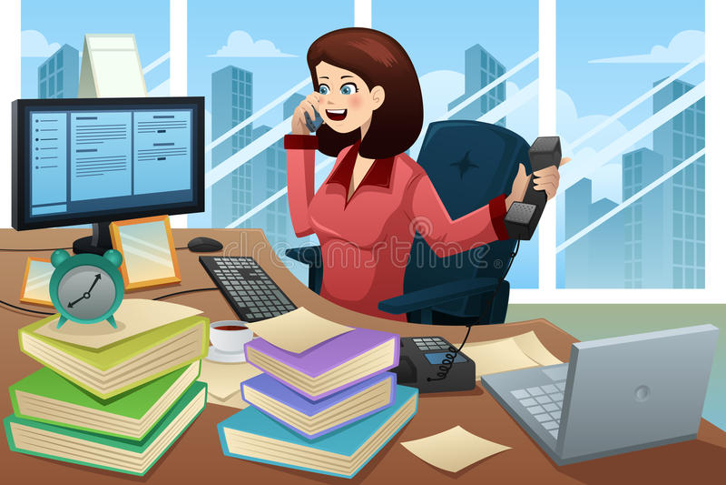 Ruchliwie bizneswoman na telefonie ilustracja wektor