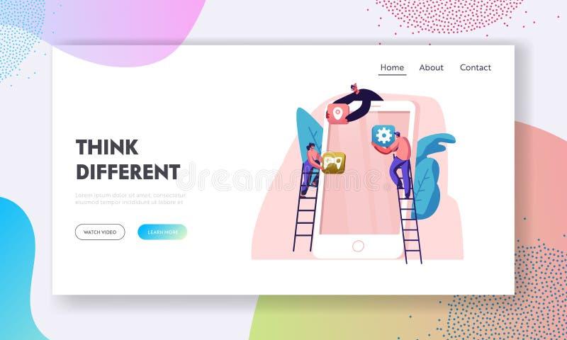 Ruchliwie działanie proces, współpraca, praca zespołowa Ludzie Stawiać App ikon na Smartphone ekranie Rozwijają zastosowanie dla  royalty ilustracja