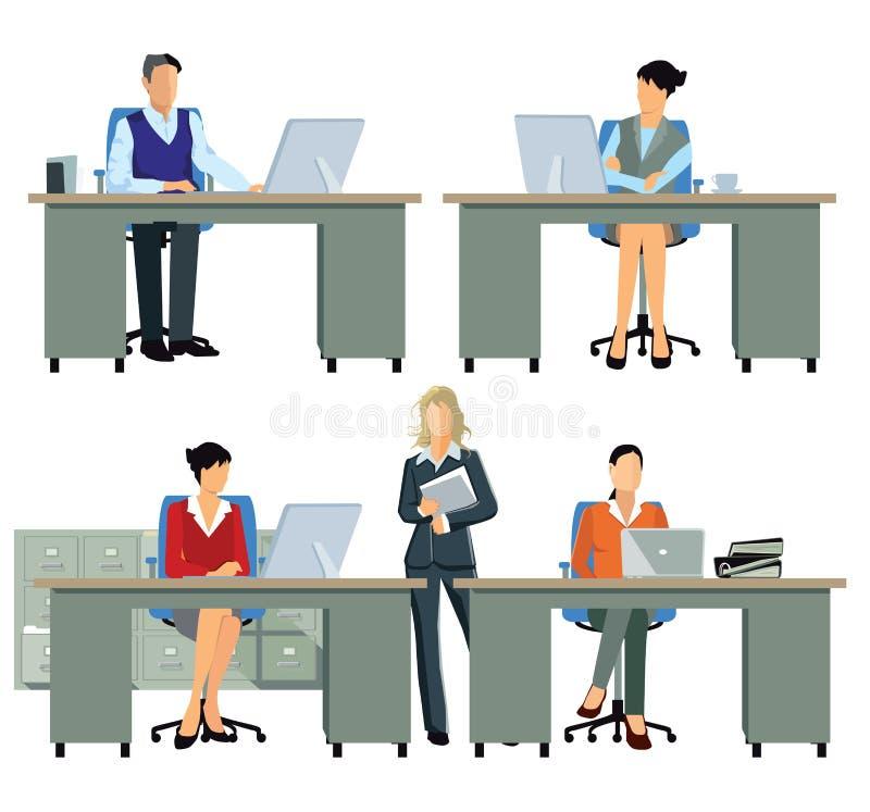 Ruchliwie urzędnicy przy ich biurkami ilustracja wektor
