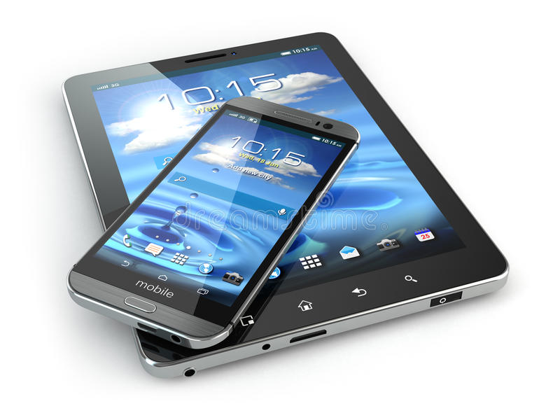 ruchome urządzenia Smartphone i pastylki komputer osobisty na białym backg ilustracji