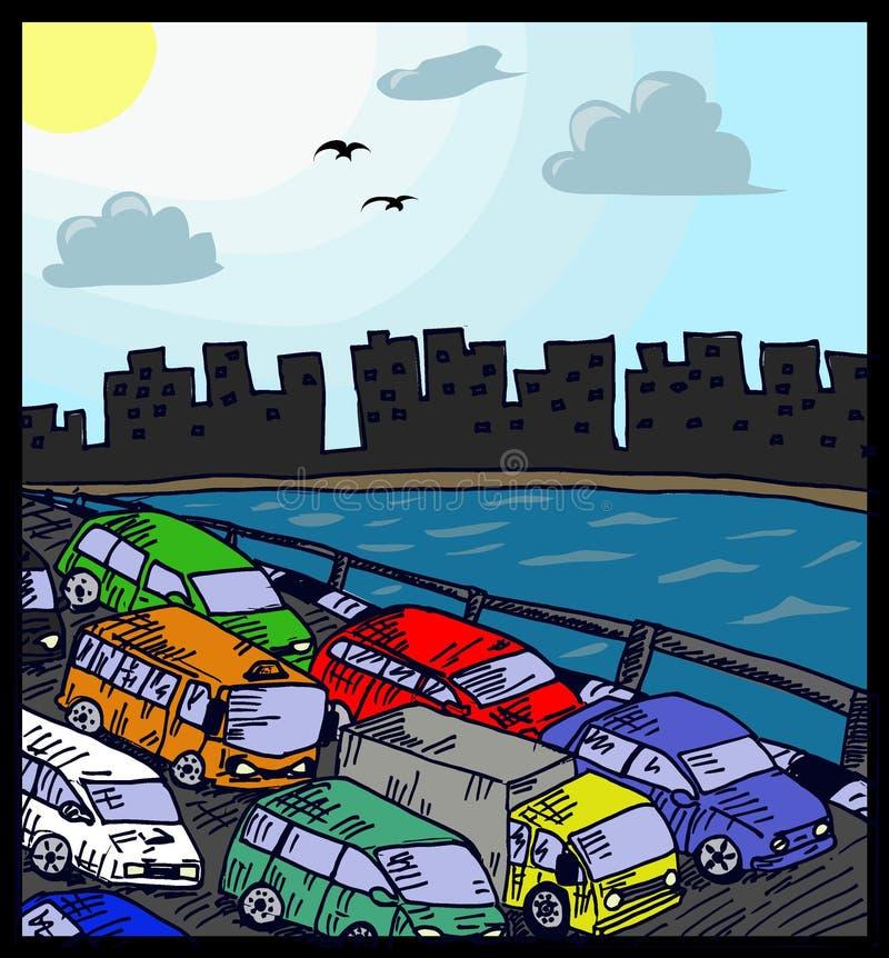 Ruchu drogowego dżem ilustracja wektor