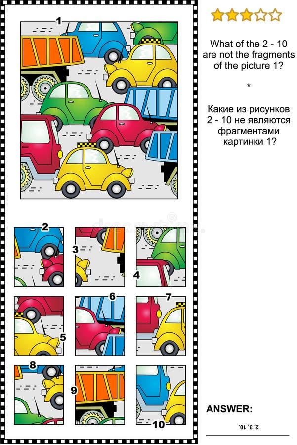 Ruchu drogowego dżem abstrakcjonistyczna obrazek łamigłówka części i całość - ilustracji