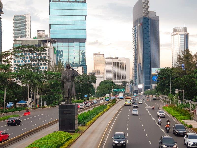 ruchu drogowego dżem który zawsze nawiedza po środku miasta fotografia stock
