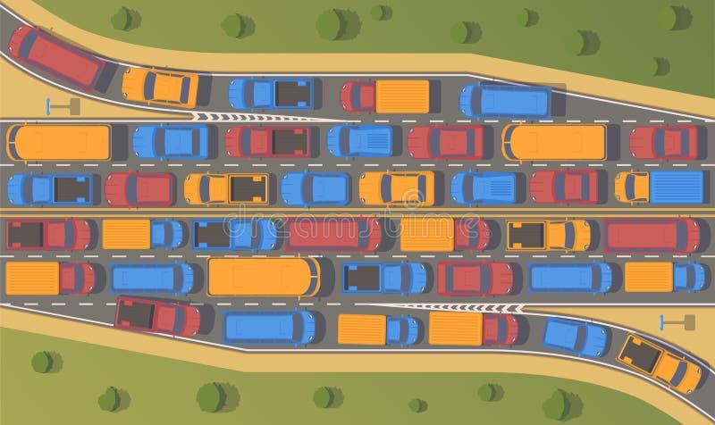 Ruchu drogowego dżem na drogowym złączu Wielki przekrwienie samochody Odgórnego widoku mieszkania ilustracja ilustracji