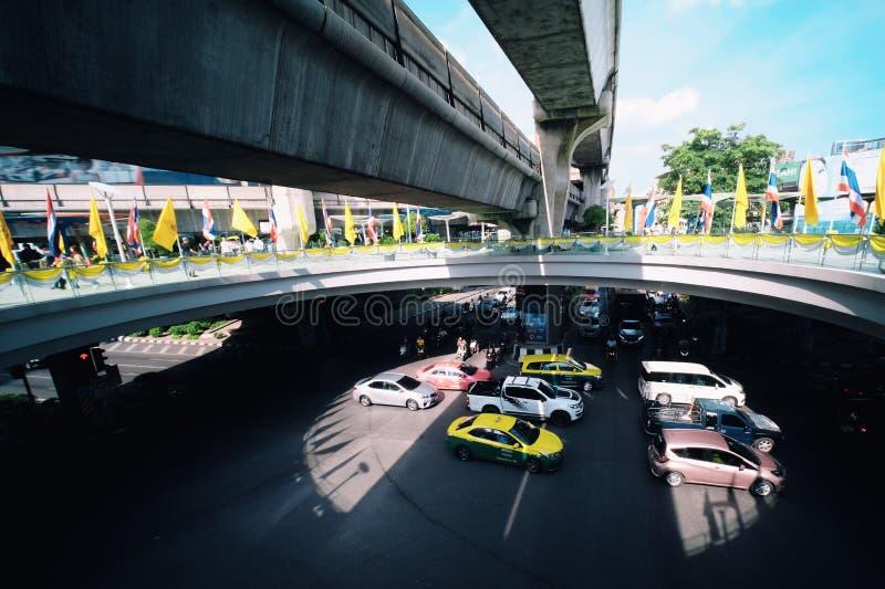 Ruchu drogowego dżem w Bangkok mieście, Tajlandia, Lipiec 15,2019 zdjęcia royalty free