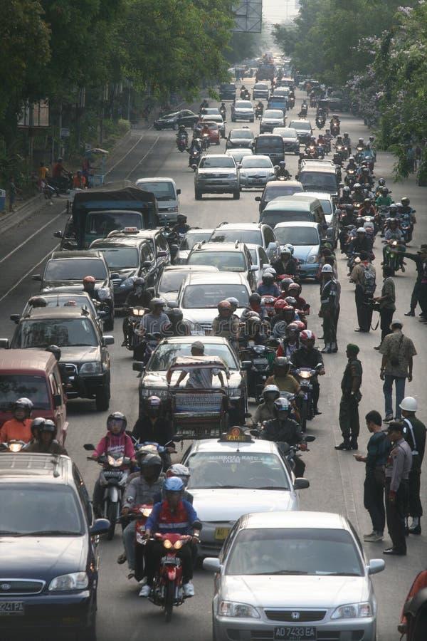 Ruchu drogowego dżem w Dżakarta Indonezja obraz stock