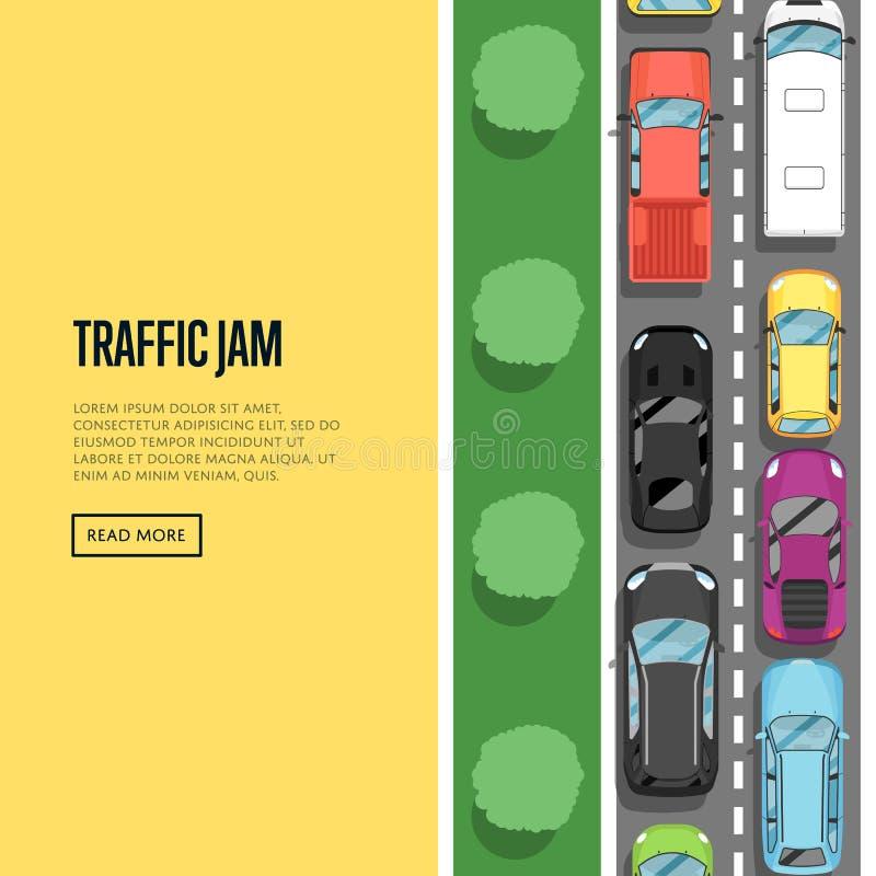 Ruchu drogowego dżem w godzina szczytu plakacie w mieszkanie stylu ilustracja wektor