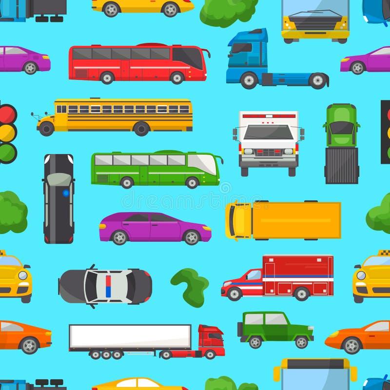 Ruchu drogowego dżemu wektoru transportu samochodowy pojazd i autobus w godzinie szczytu na autostrady drogowy wektorowy ilustrac ilustracja wektor