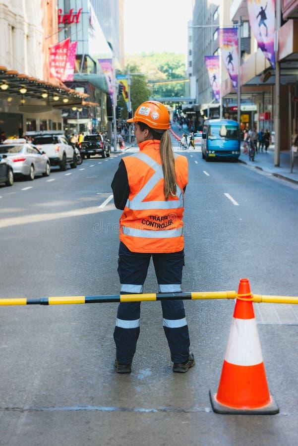 Ruchu drogowego kontroler w Sydney CBD obrazy royalty free