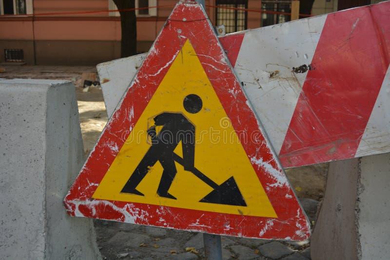 Ruchu drogowego znak, budowa zdjęcie royalty free