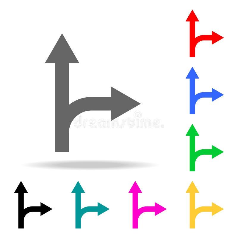 Ruchu drogowego znak, Iść prosto na powrotu dobra znaka ikonie Elementy w wielo- barwionych ikonach dla mobilnych pojęcia i sieci royalty ilustracja