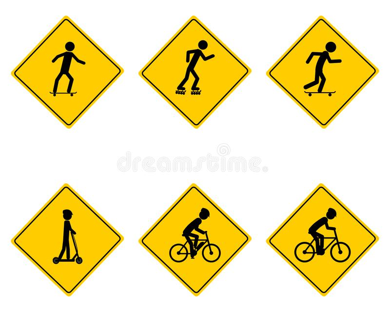 Ruchu drogowego znak ostrzegawczy dla różnorodnych sportów royalty ilustracja