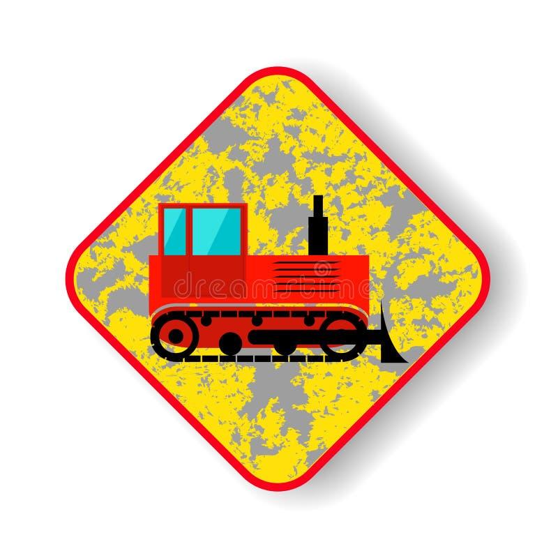 Ruchu drogowego znaka śpioszka buldożer zdjęcia royalty free