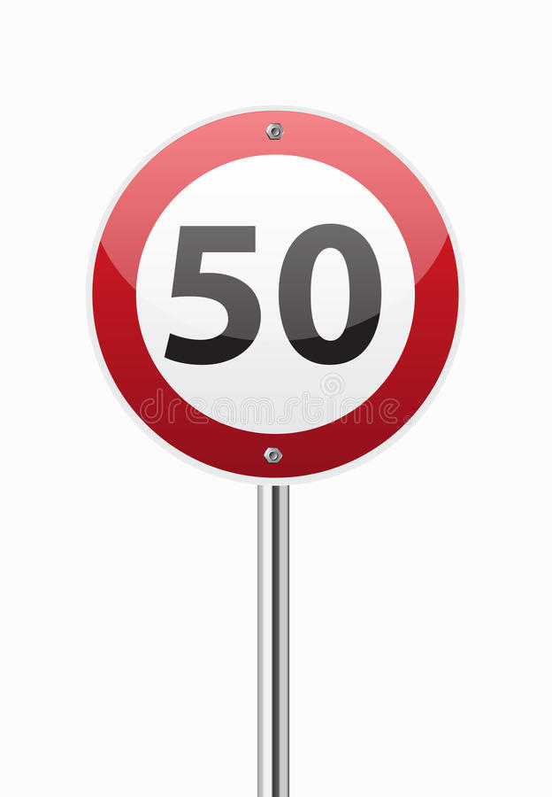 Ruchu drogowego znaka prędkości ograniczenie pięćdziesiąt ilustracji