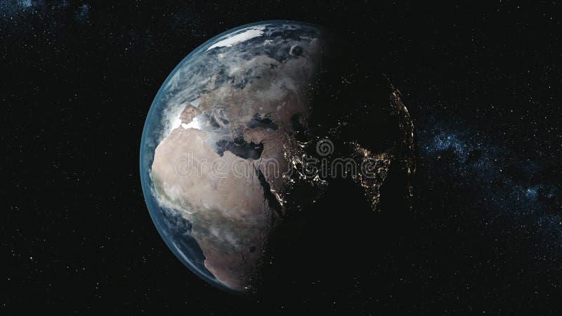 Ruchu wykresu planety ziemia przeciw drodze mlecznej w czerni przestrzeni royalty ilustracja