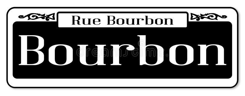 Rucianego bourbonu Odosobniony znak uliczny ilustracji