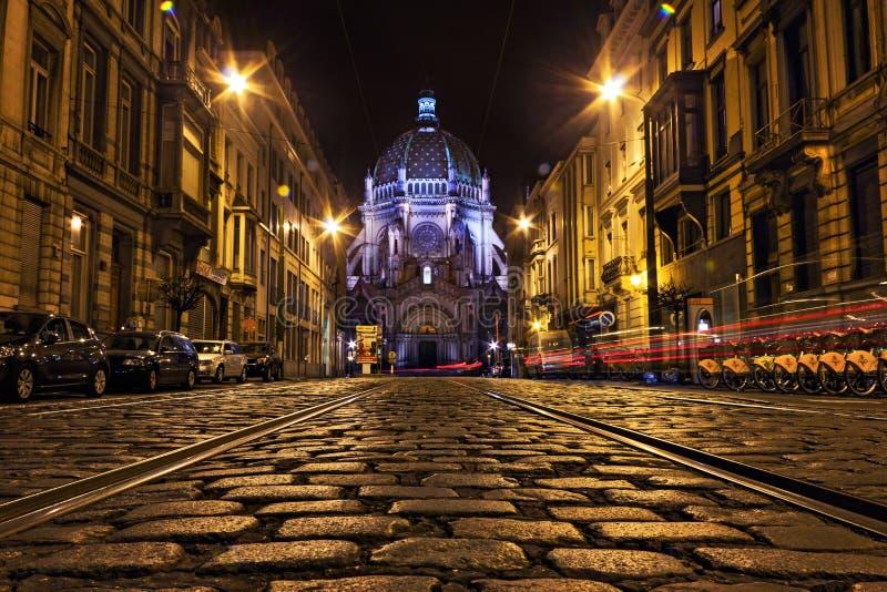 Ruciany Royale z Sainte-Marie kościół w Schaerbeek, Brussel zdjęcie stock